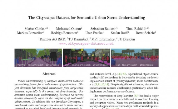 News – Cityscapes Dataset